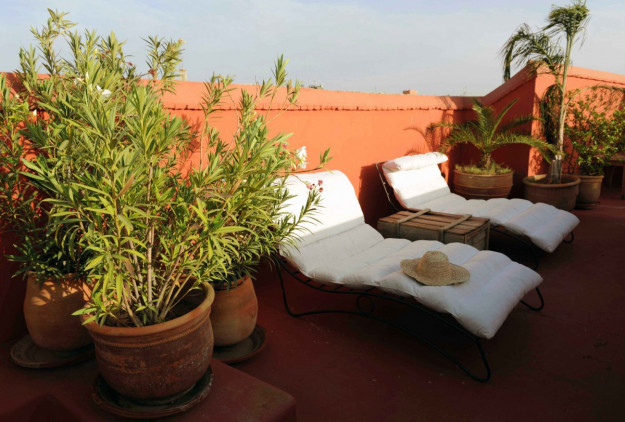 Roof terrace in the Marrakech medina
