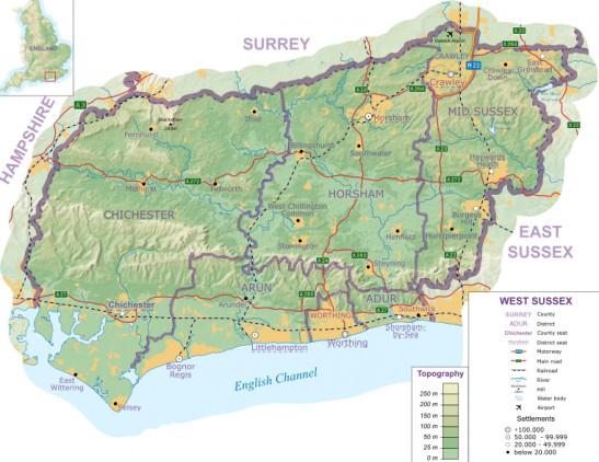 West Sussex Map